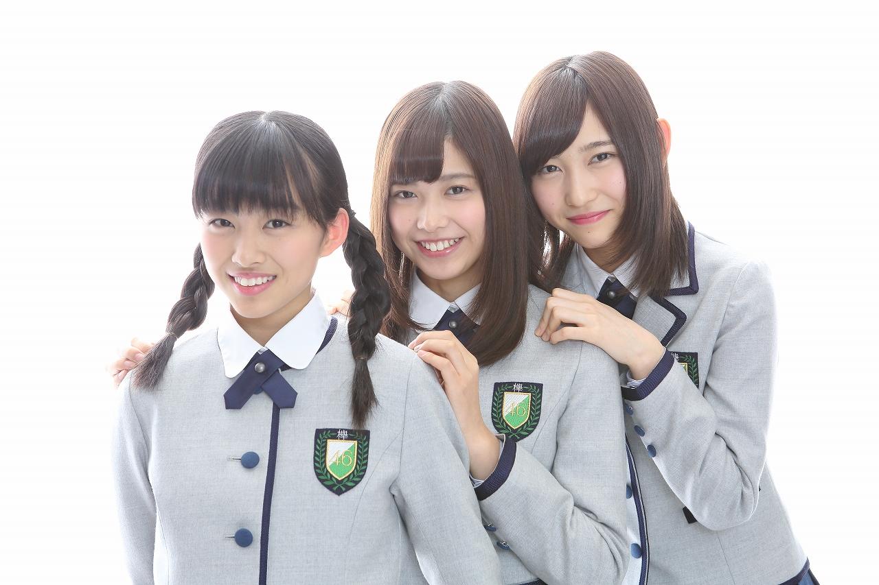 写真左から原田葵(はらだ・あおい)、渡邉理佐(わたなべ・りさ)、志田愛佳(しだ・まなか)のユニット名「大食いシスターズ」